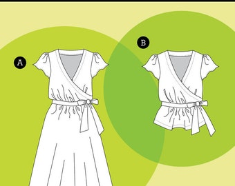 YALETOWN DRESS & BLOUSE pattern by Sewaholic Patterns sizes 0-16 (all sizes included)
