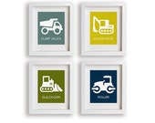 Construction Site Set of Four Truck Prints - Nursery Decor, Room Decor, Boys Room, Nursery Art, Children's Wall Art, Playroom Decor, Toddler