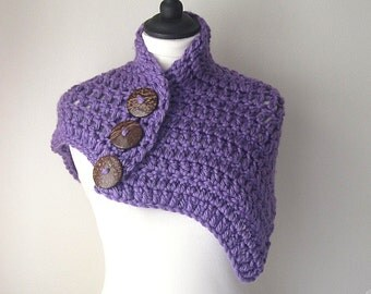 Lilac cape, lilac capelet, Crocheted lilac cape, Purple capelet, Ladies accessories, Yarnawayknits, uk seller