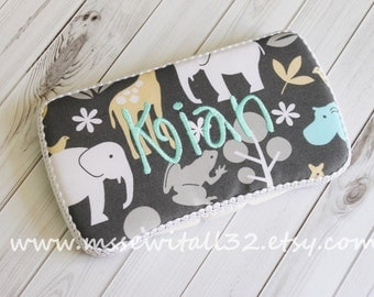 Custom Michael Miller Zoology in Sea Diaper Wipes Case