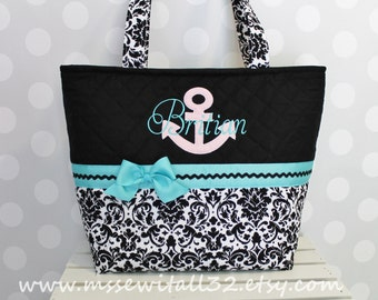 XL Quilted Black and Whites Damask / Applique Purse / Tote / Diaper Bag