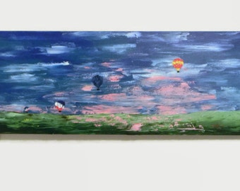 """Floating - Original Acrylic Painting - 18X36"""" - Abstract painting - Hot Air Balloon Art - Large painting - Abstract Landscape"""