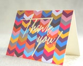 Colorful Chevron Gold Foil Thank You Card