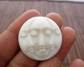 30mm (1.18 inch) Gorgeous Hand Carved Three Face Cabochon with closed Eye, Bone Component, Cabochon for Setting B4146