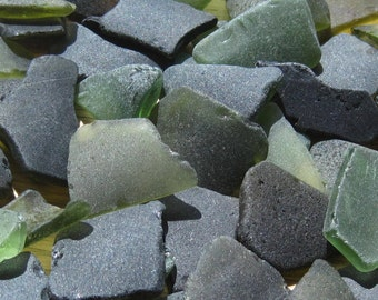 Olive Green Genuine Sea Glass Bulk Lot for Crafts