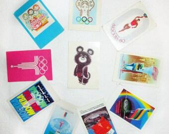 Set of 10 USSR Soviet Olympics Moscow 80 Pocket Calendars Russian