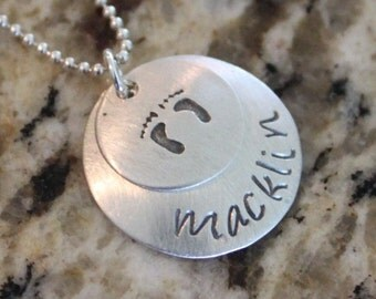 Custom Personalized Sterling Silver 925 Hand Stamped Necklace with Design, Name, Birthdate