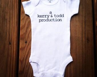 "Newborn Baby Personalized ""Production"" onesie bodysuit"