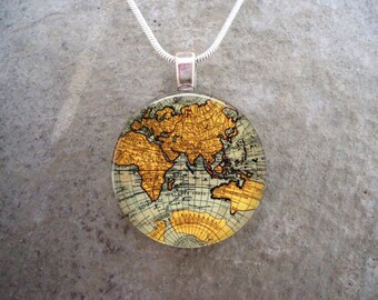Map Jewelry - Glass Pendant Necklace - Map 13 - RETIRING 2017