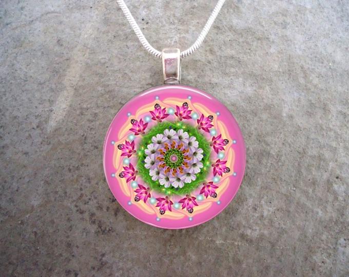 Mandala Jewelry - Glass Pendant Necklace - Mandala 25