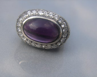 Sterling Purple Stone CZ Ring Size 7- 414.