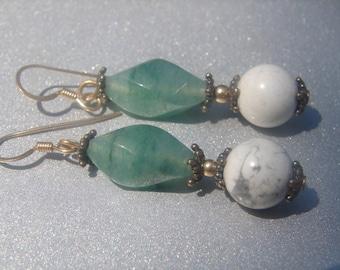 Howlite Jade Dangle Earrings 519.