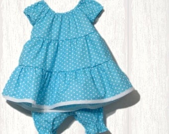 Baby Girl peasant dress outfit - Girls ruffle dress and bloomers - infant girl 2 piece outfit - polka dot dress with bloomers - kids clothes