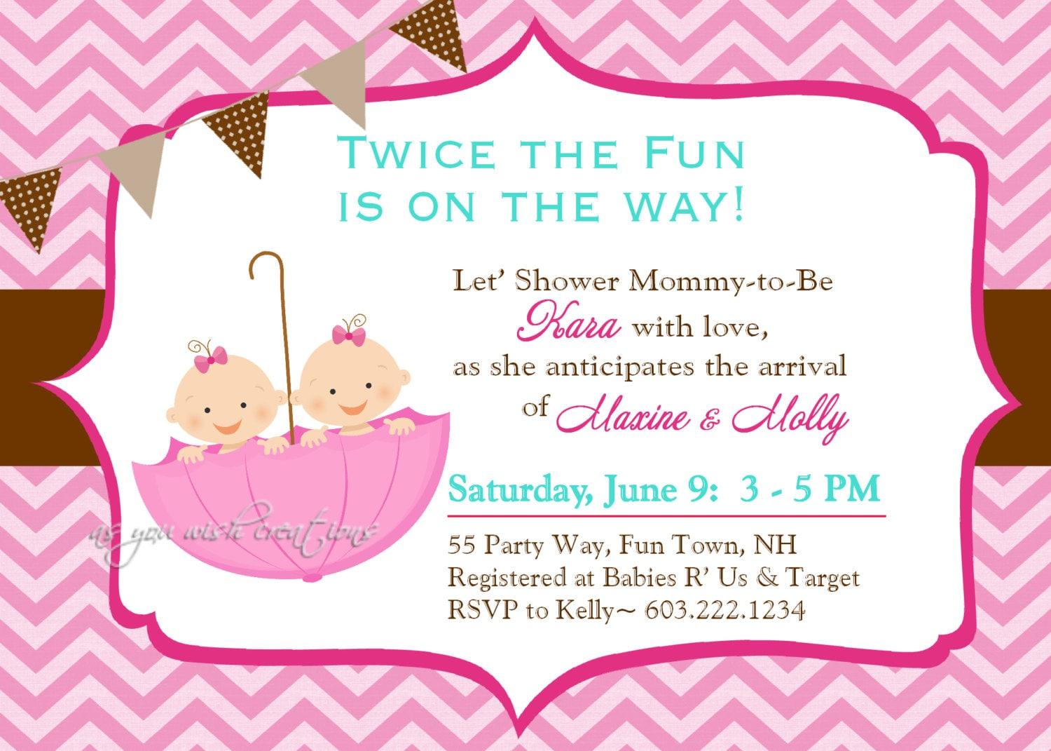 umbrella twins baby shower invitation chevron twins shower, Baby shower invitations