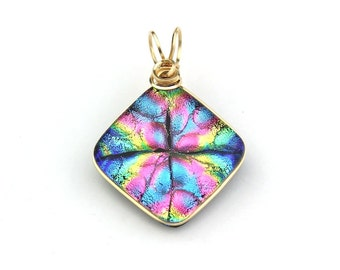 Dichroic Glass Wire-Wrapped Pendant in Pink, Blue, Green, and Gold