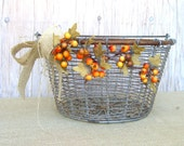 COUPON SPARKLE30 - Rustic Wire Basket, Fall Wedding, Wedding Card HolderThanksgiving Table, Buffet