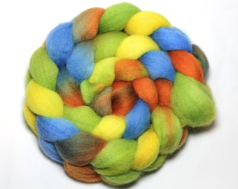 Hand Painted Roving - Iguana Cafe - Falkland Wool, 4 ounces.