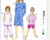 Sewing Pattern Kwik Sew 3024 Girls Sleepwear - Nightshirt, Pajamas, Tank top, Shorts, Capri Length