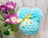 READY TO SHIP Newborn Crochet Beanie with double pompoms - Turquoise Blue - Photography Prop - 13 inch size - Ready to ship - Easter Spring
