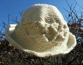 Crocheted Hat Winter Warm Adult Size Diamond Pattern