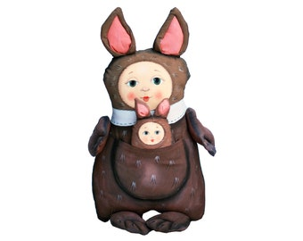 kangaroo painted art doll - soft sculpture