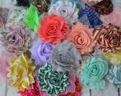 Grab bag of 10,15, 20 or 50 shabby chic fabric flower for DIY headbands. Baby headband supplies, fabric flowers, flower wholesale