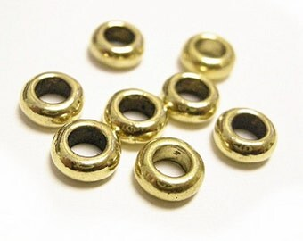 24pc 7mm Antique Gold Finish Metal Bead Spacer-8351