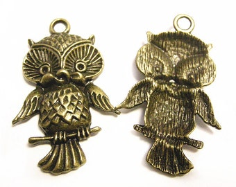 4pc 44x28mm antique bronze metal alloy  owl pendant-8381