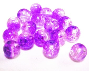 50pc 6mm fushia and clear round crackel glass bead-645