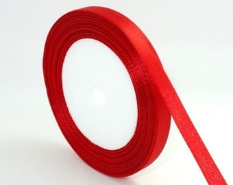 1 of 6mm red satin ribbon roll 25 yards-9563