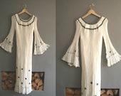 70s Ethiopian Cotton Gauze White Maxi Dress Kaftan