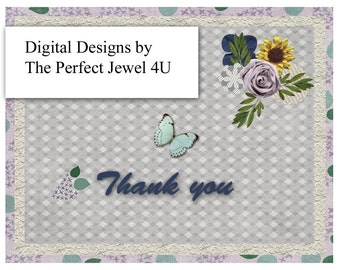 Digital Download  Printable Thank You Notecards