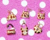 Leopard print purse and corset charms 6 pcs
