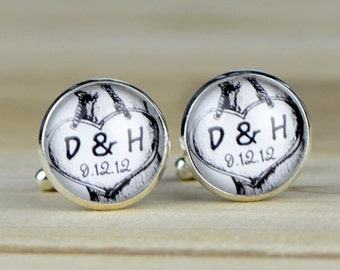 Custom Cuff Links, Personalized father of the bride wedding date cufflinks, Wedding cuff links, Groom cuff links, bestman cuff links-058