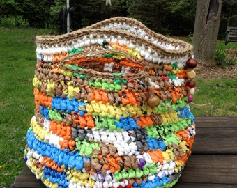 Multicolored Plarn Purse Tote Crocheted with Plastic Bags, Jute and Beads Stash Basket Container