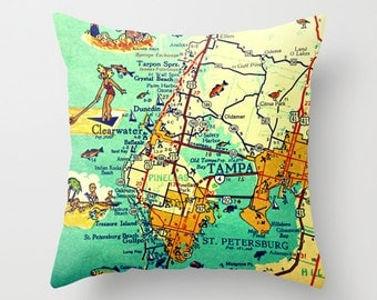 Beach Decor Tampa Florida Map Pillow Clearwater Tarpon Springs Beach house hostess gift Aqua cartography Decorative Map Pillow art aqua