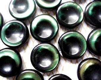 Iridescent Green Coin Buttons - 7 Vintage Green Plastic Buttons - Emerald Green Buttons