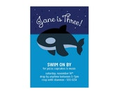 CUSTOM ORCA INVITATION — Personalized Killer Whale Birthday Party Invitation for Child/Toddler/Preschool, Blue Ocean, Stars, Boy or Girl