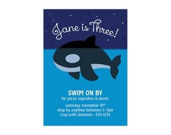 Orca Birthday Invitation for Kids, Custom PDF