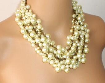 Pearl Bib Necklace, Bridal Bib Necklace, Ivory and Brass Pearls Statement Necklace, Pearl Bib Necklace,