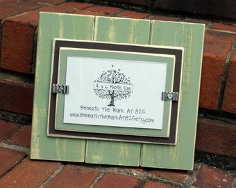 4x6 Wood Picture Frame - Distressed Wood - Double Mats - Sage Green & Brown