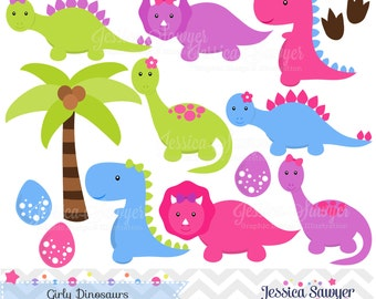 INSTANT DOWNLOAD, Girls Dinosaur Clipart, Dinosaurs for girls, Dino party, for commercial use or personal use