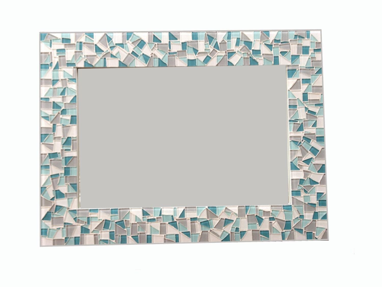 Mosaic mirror in gray aqua white neutral wall mirror for Mosaic mirror