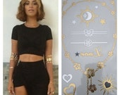 Metallic Jewelry Tattoo Set - As Seen on Beyonce - Waterproof Temporary Tattoos - Diamond Set