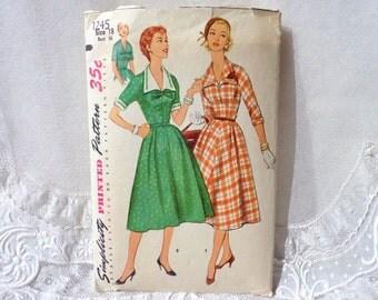 Vintage Simplicity 1245 Dress Pattern Size 18 1955