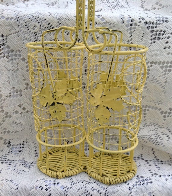 Wicker Basket With Sections : Wicker iron divided yellow basket tall skinny