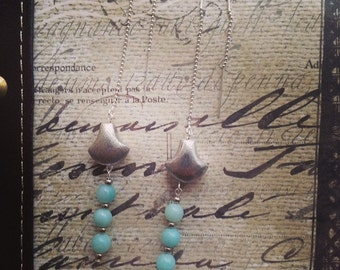 Threader earrings. Handmade jewelry. Light Blue Sterling Silver Threader Earrings. Light  Blue Earrings. Drop Earrings. Chic.