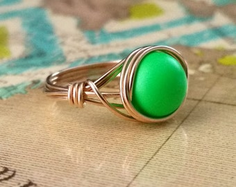 Neon Jewelry, 14kt Gold-Filled Wire Wrapped Ring, Neon Green Ring, Wire Wrapped Jewelry Handmade