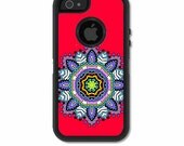 Skin FOR the OtterBox Defender Case for iPhone 5 or 5S - Mandala circle on red backround - Free Shipping OtterBox Case NOT included