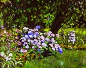 "Fine art 6X6 original still life oil painting ""My Neighbor's Garden"""